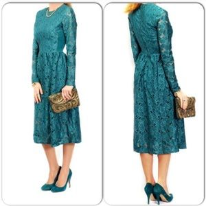 H&M Teal Lace Midi Dress - Size Small